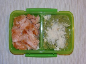 Bento de salmón y crema de brócoli - Salmon and broccoli cream bento